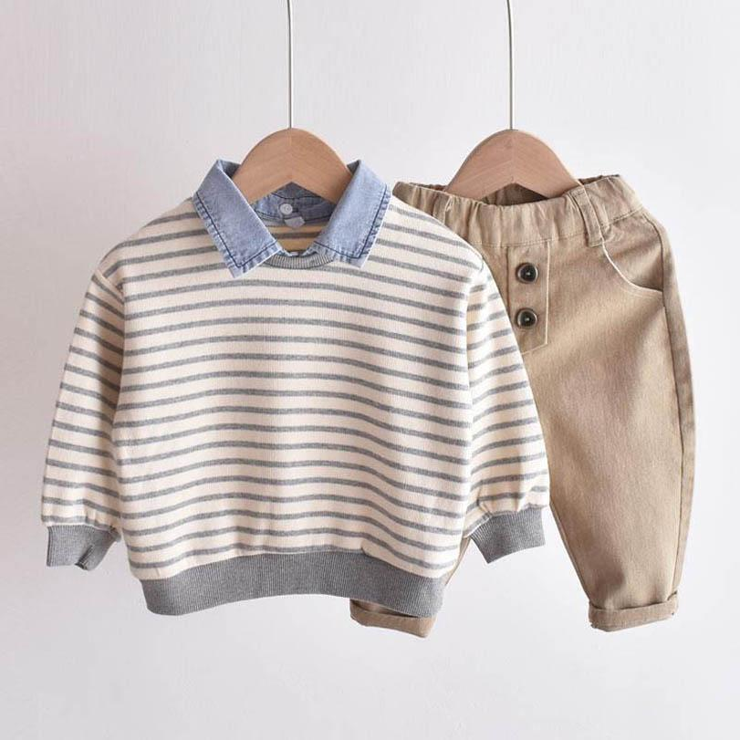 Clothing Sets Boys Suit Baby Clothes Striped Kids Suits Children Spring Autumn Cotton Long Sleeve T Shirt Pants Outfits 1-6Y B4460