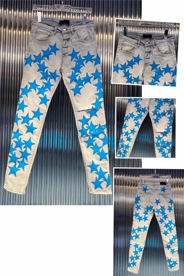 LUXURYS Designer Mens Jeans Fashion Slim-Leg Jeans Biker Blue Pants Acquaccia Acqua Diamante Zebra Stripes Top Quality SZ 29-40