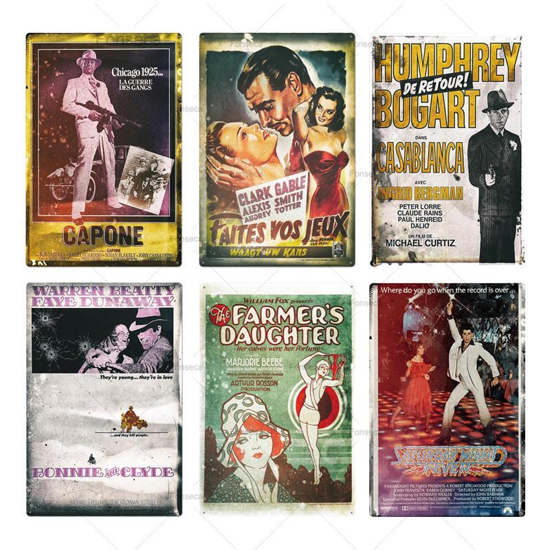 Clássico filme metal cartaz placa metal vintage filme sinal decoração de parede para bar pub homem caverna de ferro pintura sinal de estanho