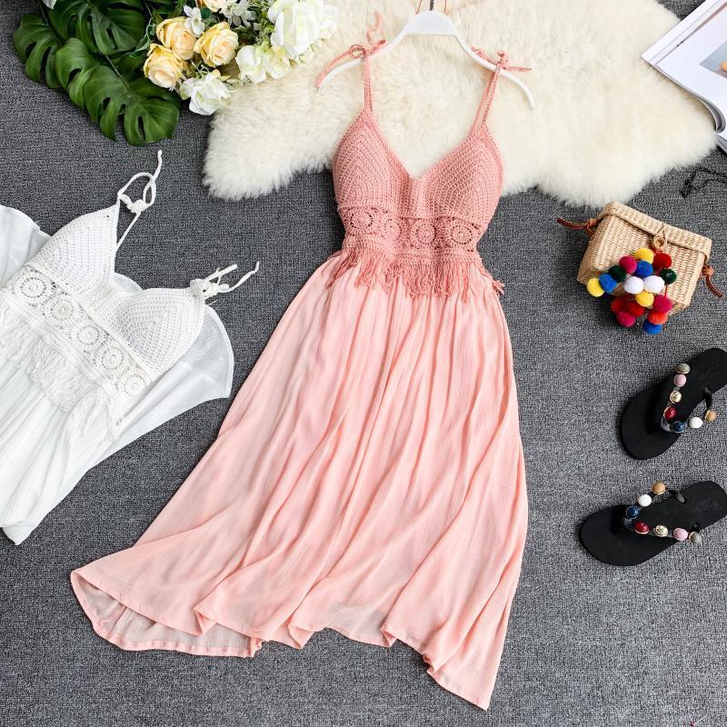 Dikkatli Örme Şerit Sütyen Yastık V-Yaka Ve Çiy Arka Dikiş Damla Sense Saf Renk Mizaç Elbise 2021 Sarongs