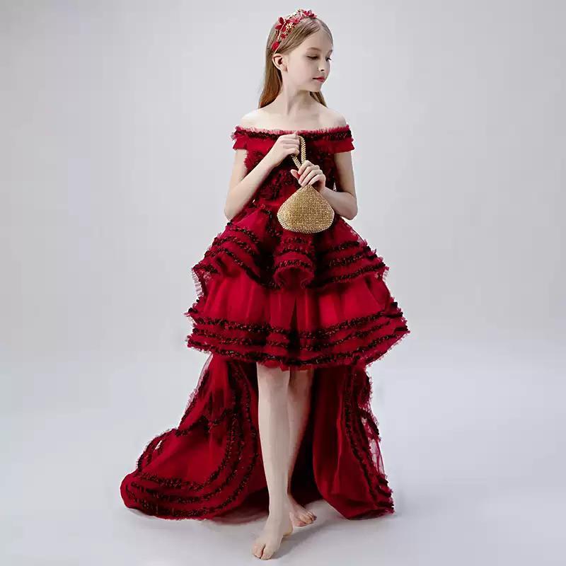 Vestidos de niña Flor chica ilusión de cuello en barco corto Burgundía Princesa de la rodilla Longitud de la rodilla Encaje del tul del hombro Niños Niños Vestido de fiesta H484