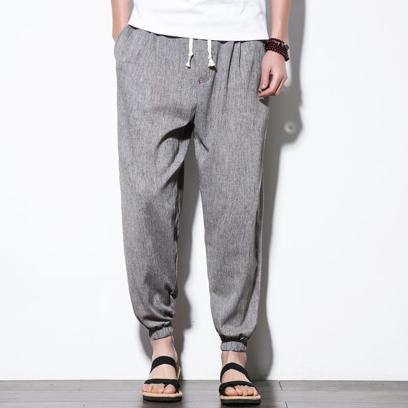 Estilo chino Verano Nuevo algodón casual de algodón y pantalones de lino grandes fogones sueltos