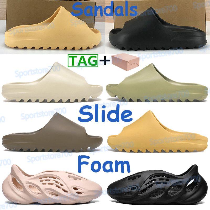 2021 Erkek Kadın Ayakkabı Sandalet Plaj Terlik Köpük Koşucu Çöl Kum Dünya Kahverengi Reçine Kemik Üçlü Beyaz Siyah Erkek Sneakers Kutusu