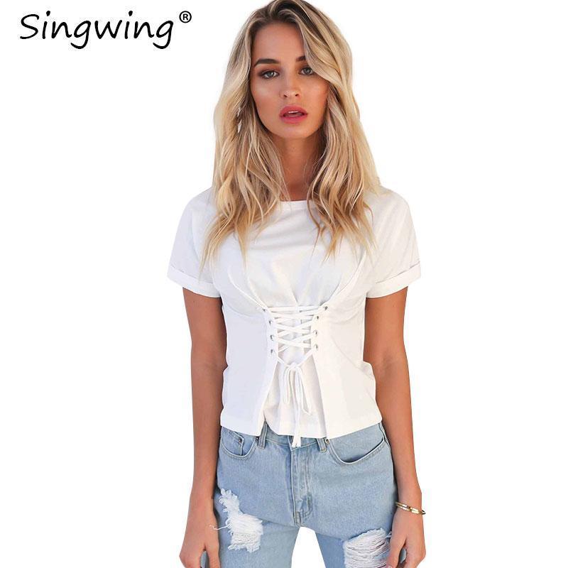 Singwing Solide Farbe Oansatz Sexy Riemen Frauen Hemden Sommer Slim Kurzärmelige Lässige Bluse Spflichte Bandage Weibliche Blusen Frauen