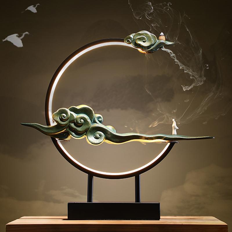 Statue Backflow Räucherbrenner Moderne Lampe Wasserfall Halter Keramik Kerze Aroma Bruciatore Incenso BK50xx Duftlampen