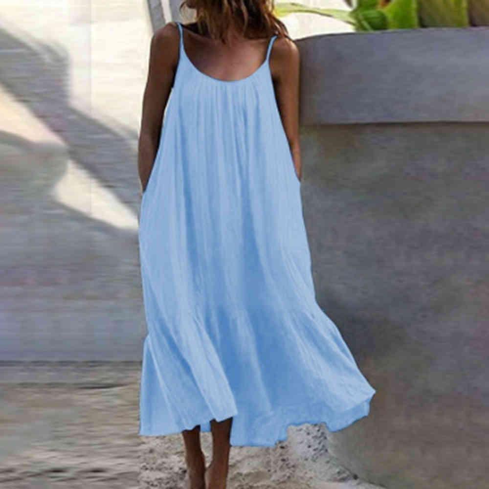 Sexy Spaghetti Strap Blanco Beach Boho Vestido Mujer 2021 Verano suelto Casual Vestidos Maxi Amarillo para Mujeres Tallas grandes Robe Femme X0521