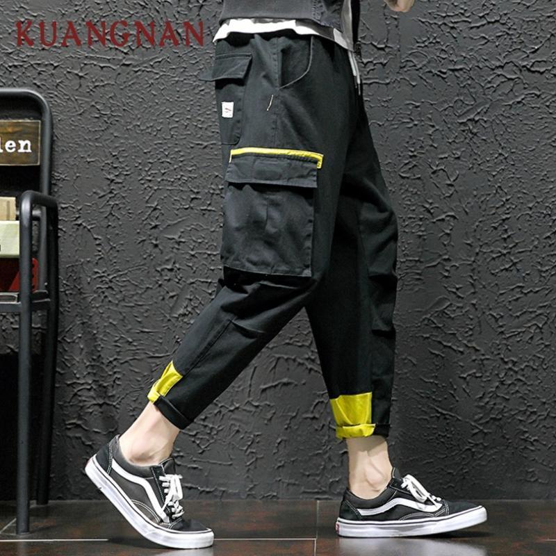 Men's Pants KUANGNAN Ankle-Length Cargo Men Streetwear Black Hip Hop Clothes 2021 Joggers Casual 5XL