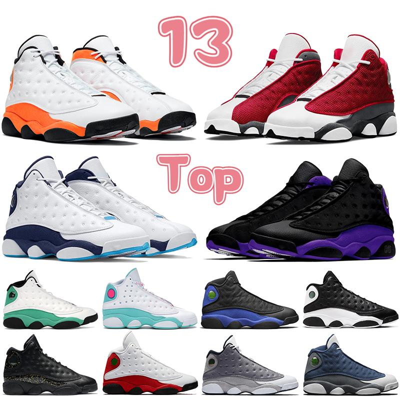 2021 Top 13 13s Hombres Mujeres Zapatos de baloncesto Black Court Purple Gold Glitter Rojo Flint Lucky Starfish Green Obsidian Mens Trainers Sneakers
