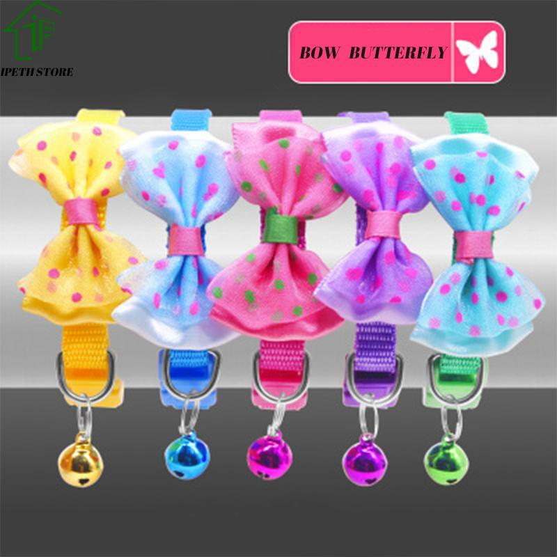 Coleiras de cachorro coleiras 6 cor animal de estimação gato colarinho borboleta borboleta com sino colar ajustável para suprimentos de filhote de cachorro