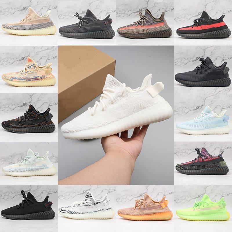 Kanye الرجال النساء الاحذية West Belgua 2.0 شبه المجمدة الأحذية الصفراء X الشوفان الروك الرماد اللؤلؤ ستون مونو الجليد الطين ثابت عاكس v2 مدرب أحذية رياضية 36-46