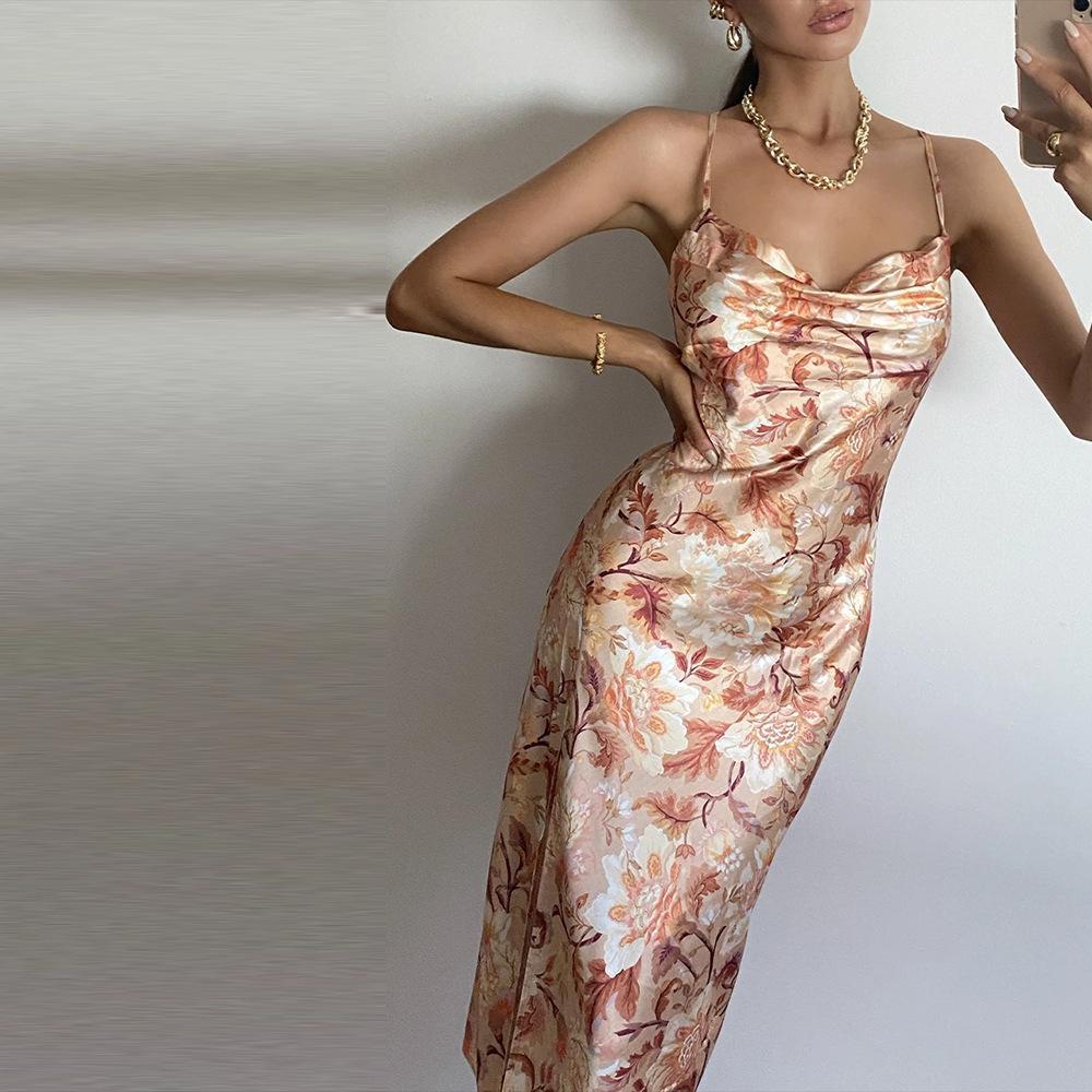 2021 vestidos casuales instave la falda de la suspensión impresa High Split Sexy Abre Back Casuals