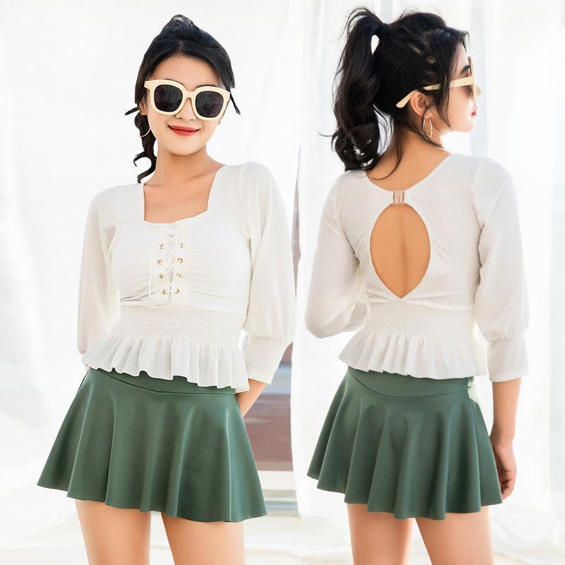 Tek parça 2021 Moda Moda Muhafazakar Mayo Ins Rüzgar High-end Düz Etek Tarzı Bahar Bayanlar Uzun Kollu Güneş Kremi Mayo
