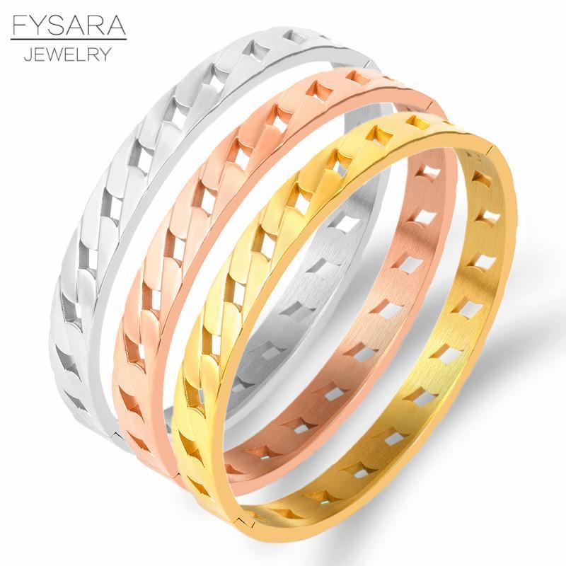 FYSARA Punk Rock Jewely Kadınlar için Unisex Paslanmaz Çelik Gül Altın Renk El Zincir Bilezik Bilezikler Charms Severler Bilezikler