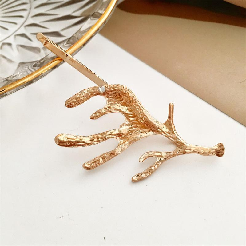 1pcs Fashion Ley in lega di metallo clip per capelli cervi orecchio tacchino antlers barrette color oro donne ragazza accessori accessori clip barrettes