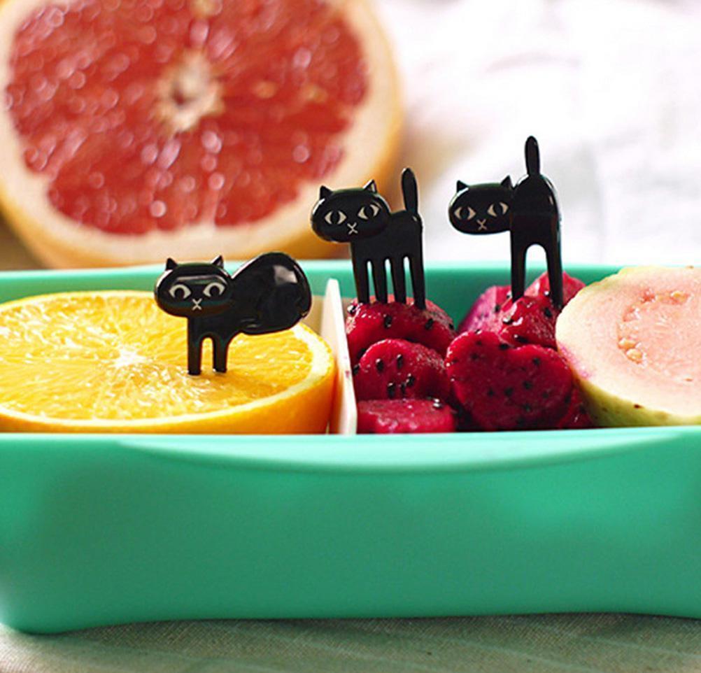 6pcs Mini Fruit Choisir des fruits d'animaux Mignon Dessin animé chat enfants fourchette Bento boîte à lunch décor accesso bbyzsp sweet07 w105