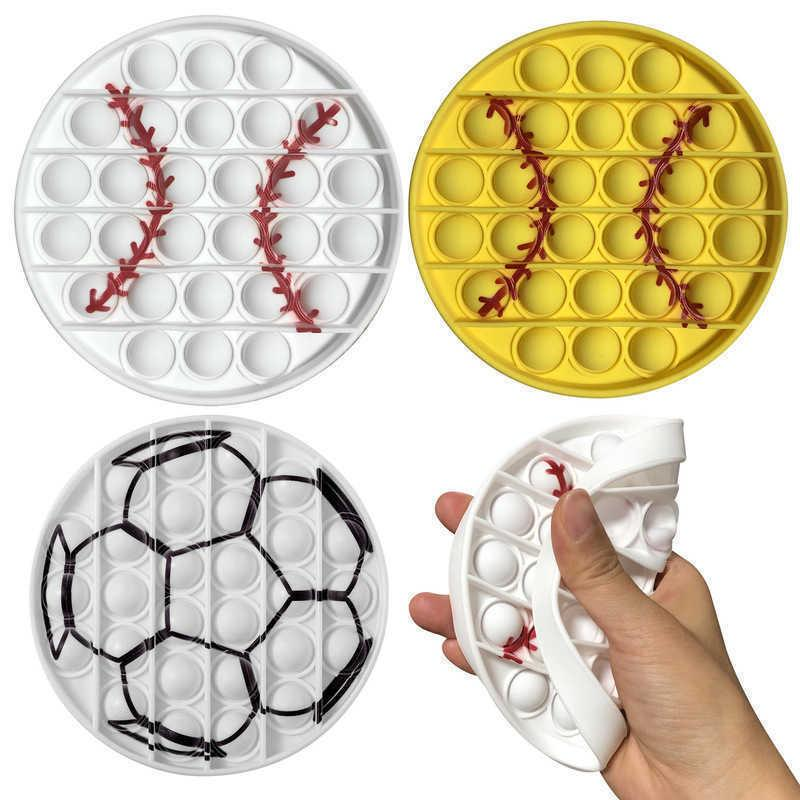 Fidget PoP Pioneer Juguete Push Push Bubble Color Impresión Béisbol Fútbol Desktop Children's Puzzle Circular Silicone Toys Sensory Stress Ball G6672OP