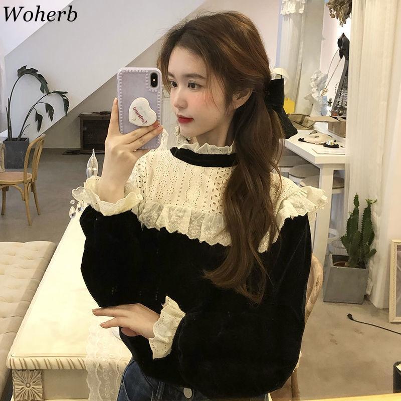 Bluzlar Kadın Balıkçı Yaka Dantel Patchwork Gevşek Kadife Gömlek Bahar Kore Chic Bluz Vintage Mizaç Bayanlar Tops 210422