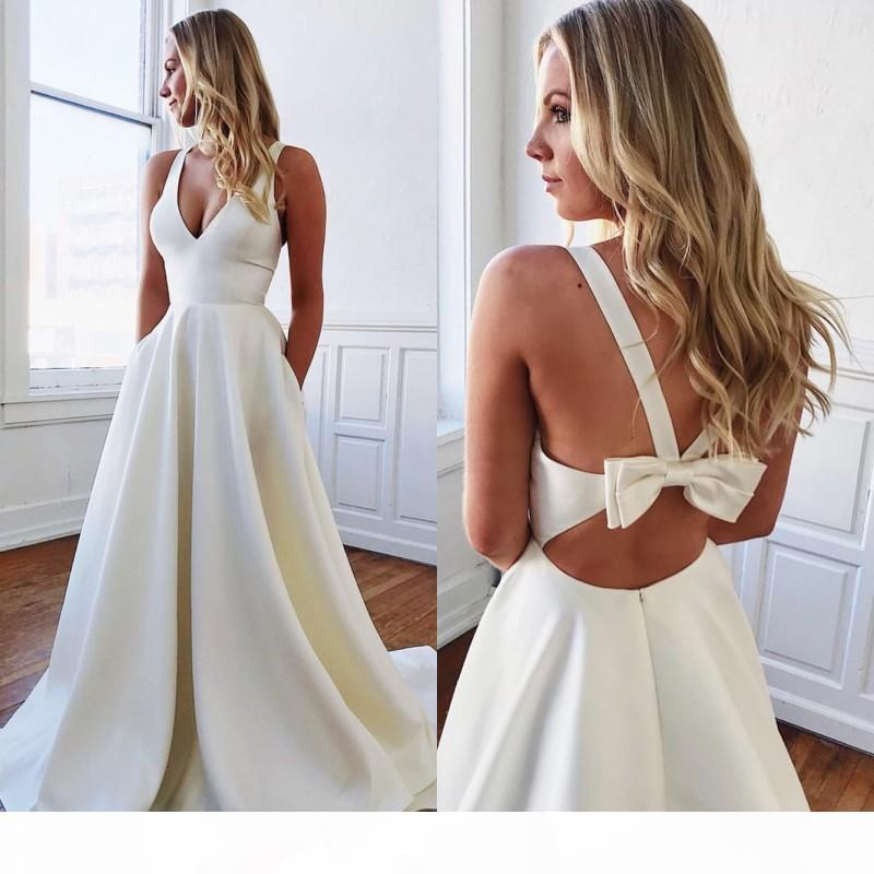 Pure White Satin A Line Wedding Dresses 2020 Backless With Bow Bridal Gowns Deep V Neck Sleeveless Summer Cheap Bridal Gown Dress