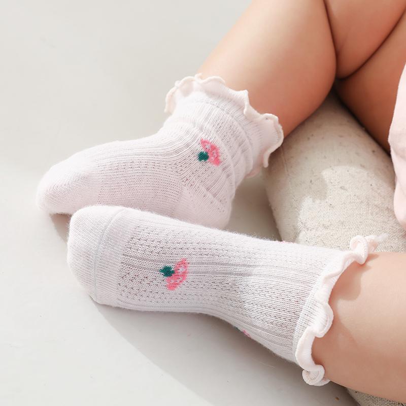 어린이 면화 여름 양말 프린트 유아 아이 아기 귀여운 화이트 레이스 공주님 프리 프릴 카와이 패션