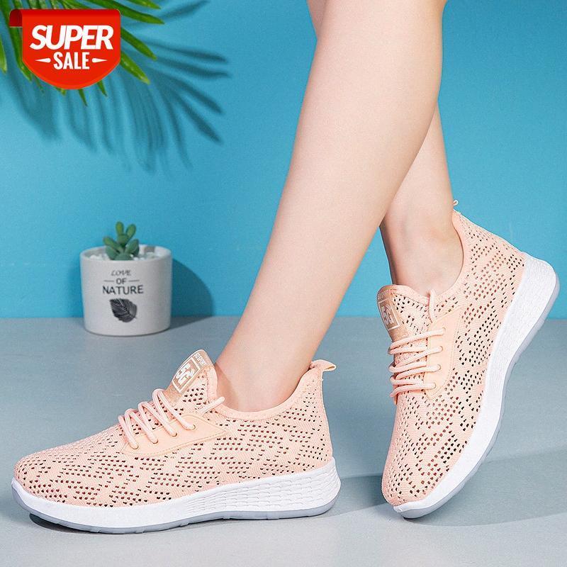 Yeni yaz örgü spor ayakkabı, yumuşak taban anne nefes uçan dokuma ayakkabı bağcıklı bayanlar bekar # 4x06
