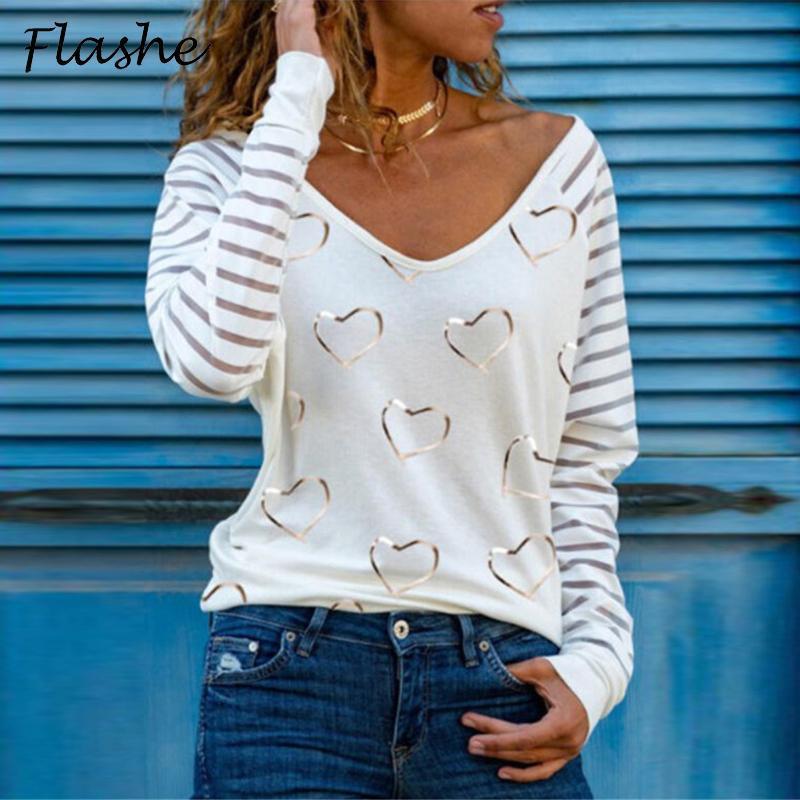 Impresión de moda con cuello en V manga larga Base versátil Camiseta Primavera para mujer Y Otoño Fin Thin Stripe Love T
