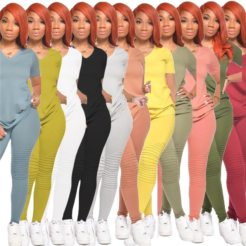 Due PCs Set Donne Abbigliamento Donne Plain TrackSuits Casual Abiti Casual Manica Corta T Shirt Leggings Estate Primavera Autunno Jogger Suits Solid Color Sweatsuit Streetwear 3543