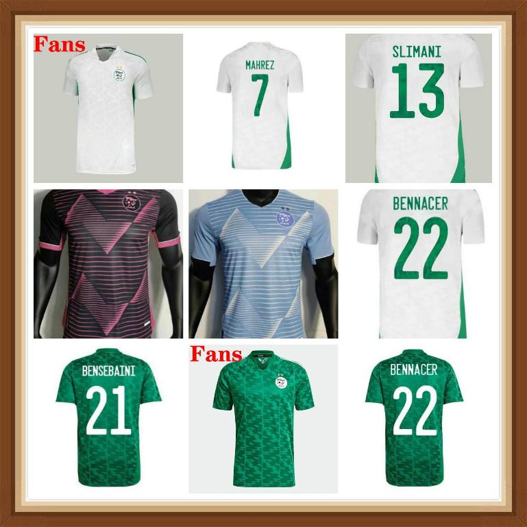 2021 2022 Cezayir Mahrez Futbol Formaları Hayranları Oyuncu Sürüm Maillot Cezayir 21 22 Atal Feghouli Slimani Brahimi Ev Uzakta Bennacer Erkekler Çocuklar Futbol Gömlek