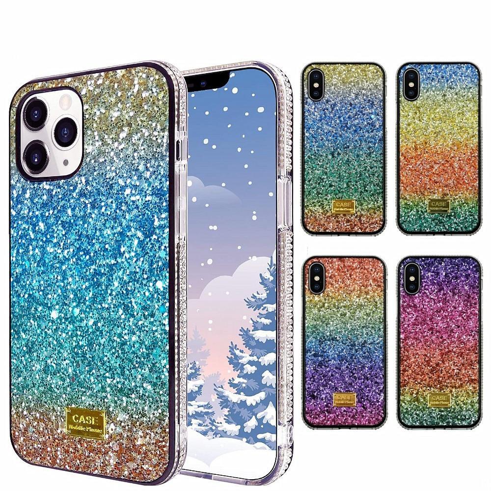Lüks Bling Rhinestone Glitter Telefon Kılıfı Için iphone 6 7 8 Artı X XR XS SE 11 12 Mini Pro Max Elmas Gökkuşağı Renkli Arka Kapak Kılıfları