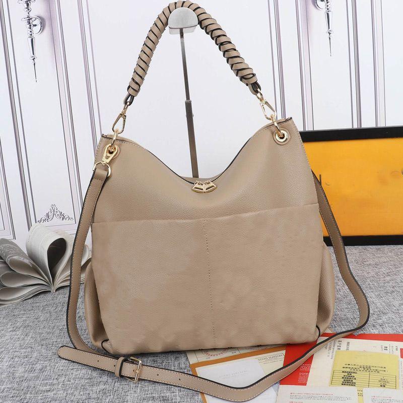 Genuine leather Tote Bags Women Handbag Embossed Fashion letter Shopper Shoulder Bag Woven Top Handle Double Zipper Adjustable Strap High Quality Hardware 33cm