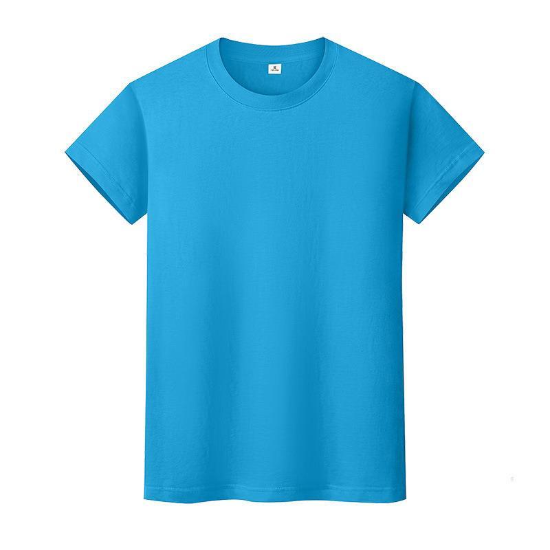 Nueva camiseta de color sólido de cuello redondo Camisa de fondo de algodón de verano de manga corta para hombre y mujer de manga corta DX6E