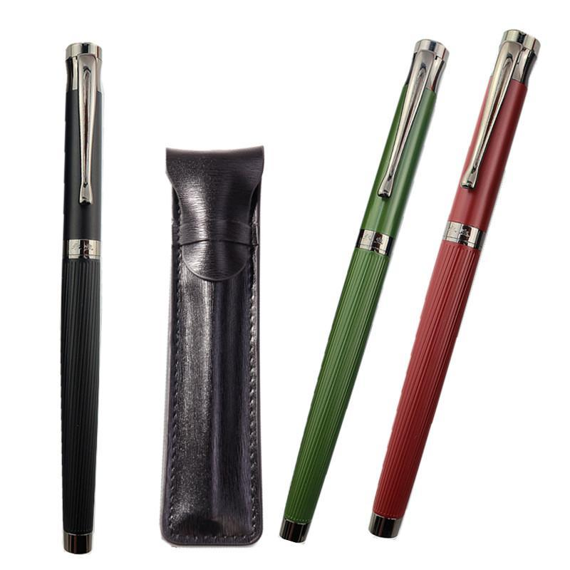 Wing Sung Fountain Pen Ink Full Metal Clip Pens Stainless Steel Red Black Classic F Nib Fountain-Pen School Office Gift BAG