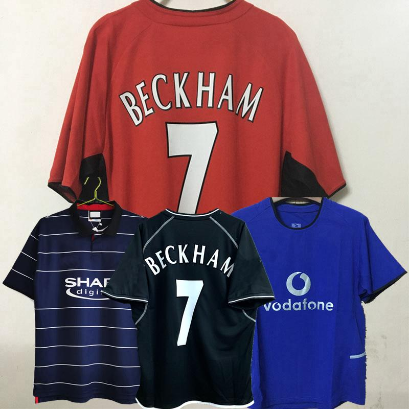 Retro Classic Fussball Jerseys Manchester 2000 2001 2002 2003 2004 Scholes V.Nistelrooy Giggs Beckham Forlan Cole Butt 00 01 02 03 04 United Football Shirt