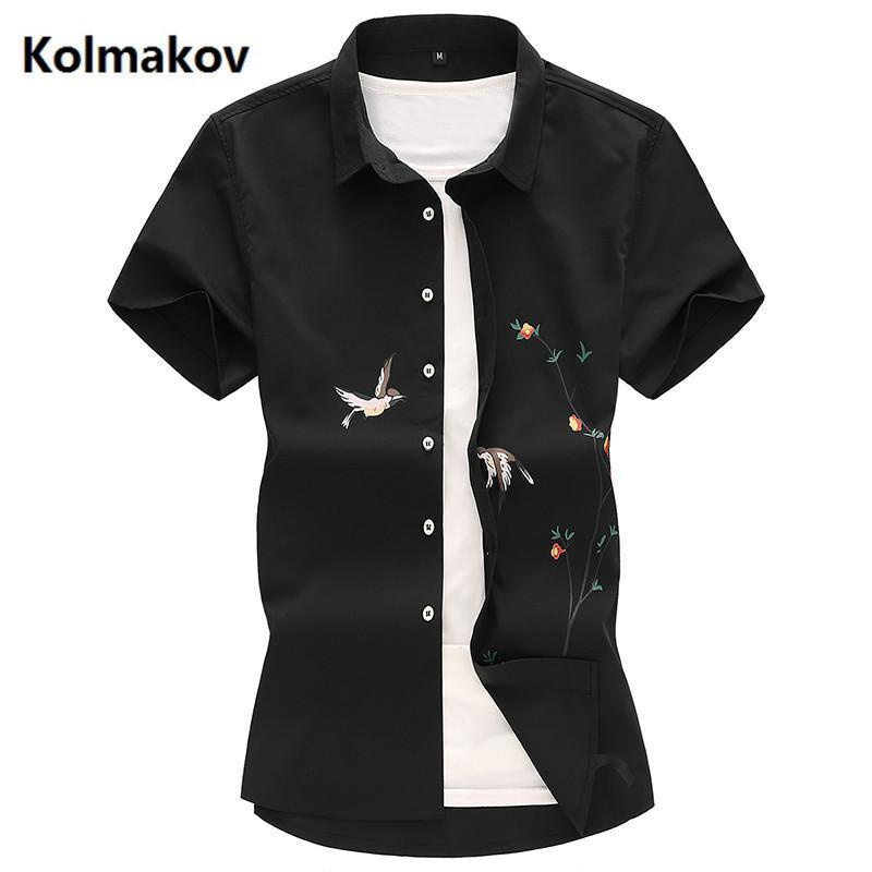 Мужские деловые рубашки мужская мода рубашка хлопок с коротким рукавом печать птица шаблон тонкий подходящий мужской размер M-7xL вскользь