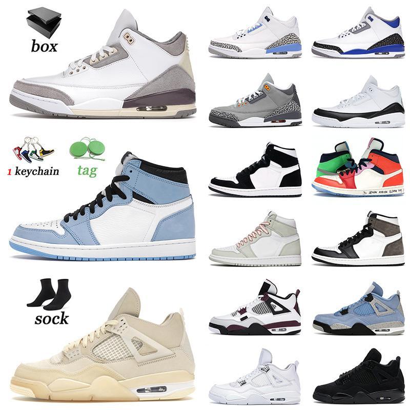retro 1 1 s 4 4s off white AVEC BOÎTE 2021 Chaussures de basket 4 4s Blanc Université Oreo Bleu Jumpman 1 1s Hyper Royal Shadow TWIST Hommes Femmes Baskets Baskets 36-47