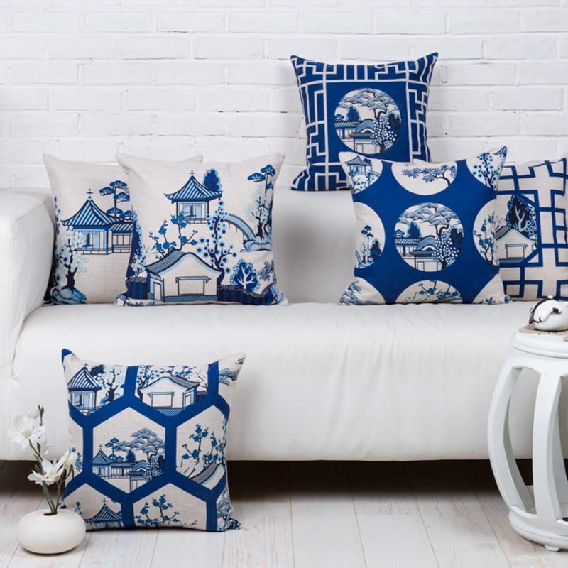 Kissen / dekoratives Kissen Moderne chinesische Landschaft blau weiße Kissenbezug Home dekorative Kissen Taille Dicke Leinen Kissenbezug Sofa