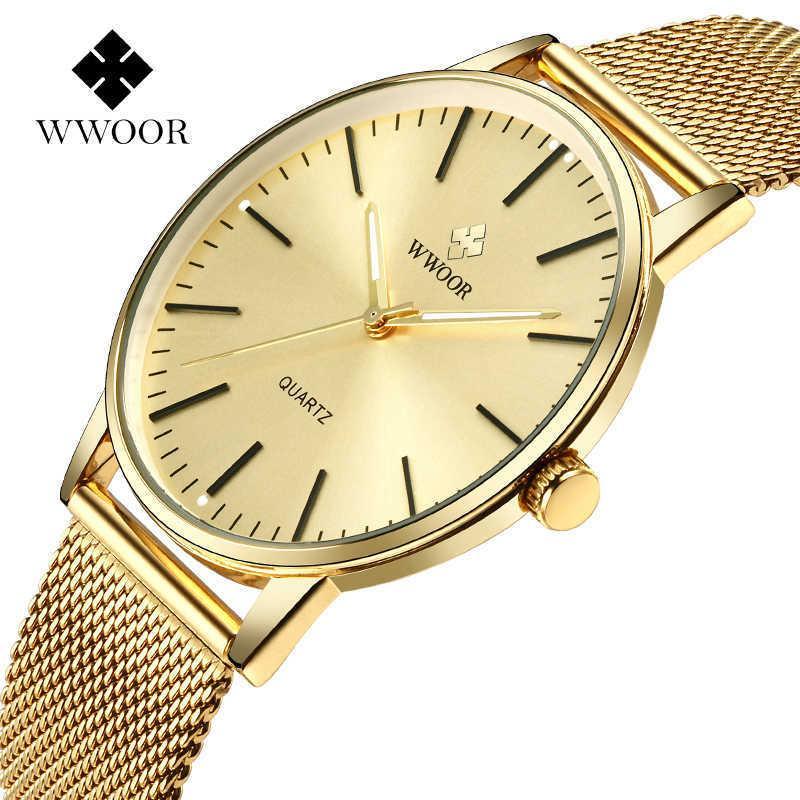 WWOOR Goldene Uhren für Männer Top Marke Luxus Vollgold Ultradünne Stahl Mesh Quarz Uhr Herren Armbanduhr Relojes Hombre 210603