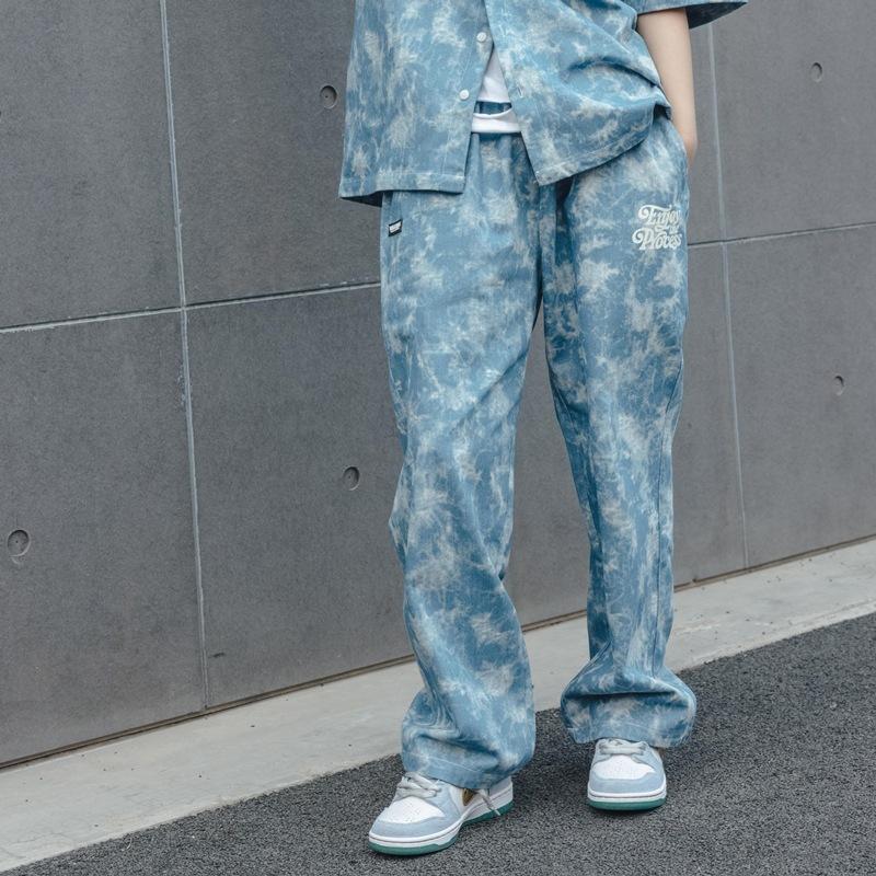 VEGORRS SCHNEEFLAKE Krawatte gefärbte Jeans Männer Paare des Mannes Lose Amerikanische Trend Casual Gerade Hosen