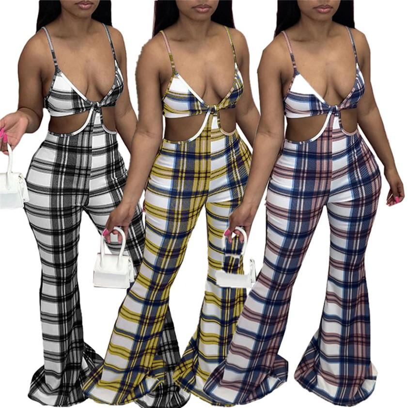 Womens Jumpsuits Ladies Rompers Plus size S~2XL Loose Bell-Bottoms Plaid Flared Trousers One piece Leggings Spaghetti Strap Overalls Nightclub Party Clothes 4659