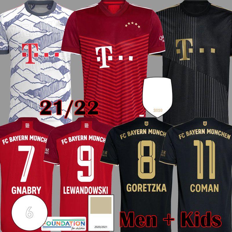 2021 Davies Bayern Version Version Jerseys Sane Lewandowski Kimmich Musiala Munchen Muller Gnabry Munique Camisa de Futebol 21 22 Mens Kit Kit