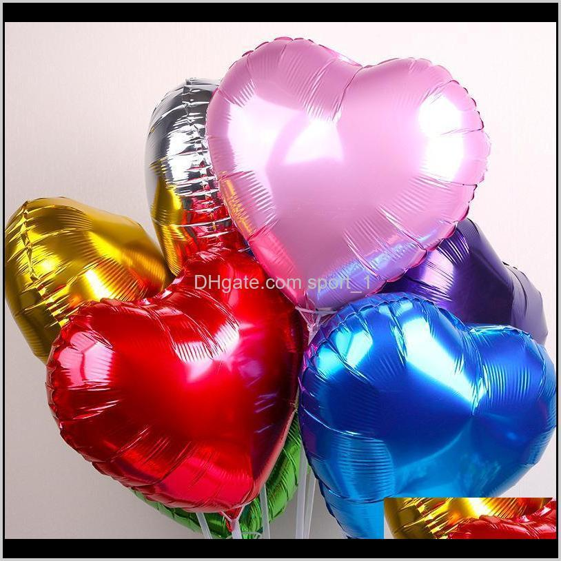 Event Festive Supplies Home & Garden Drop Delivery 2021 18 Inch Love Heart Foil Balloon 50Pcs/Lot Children Birthday Decoration Wedding Party