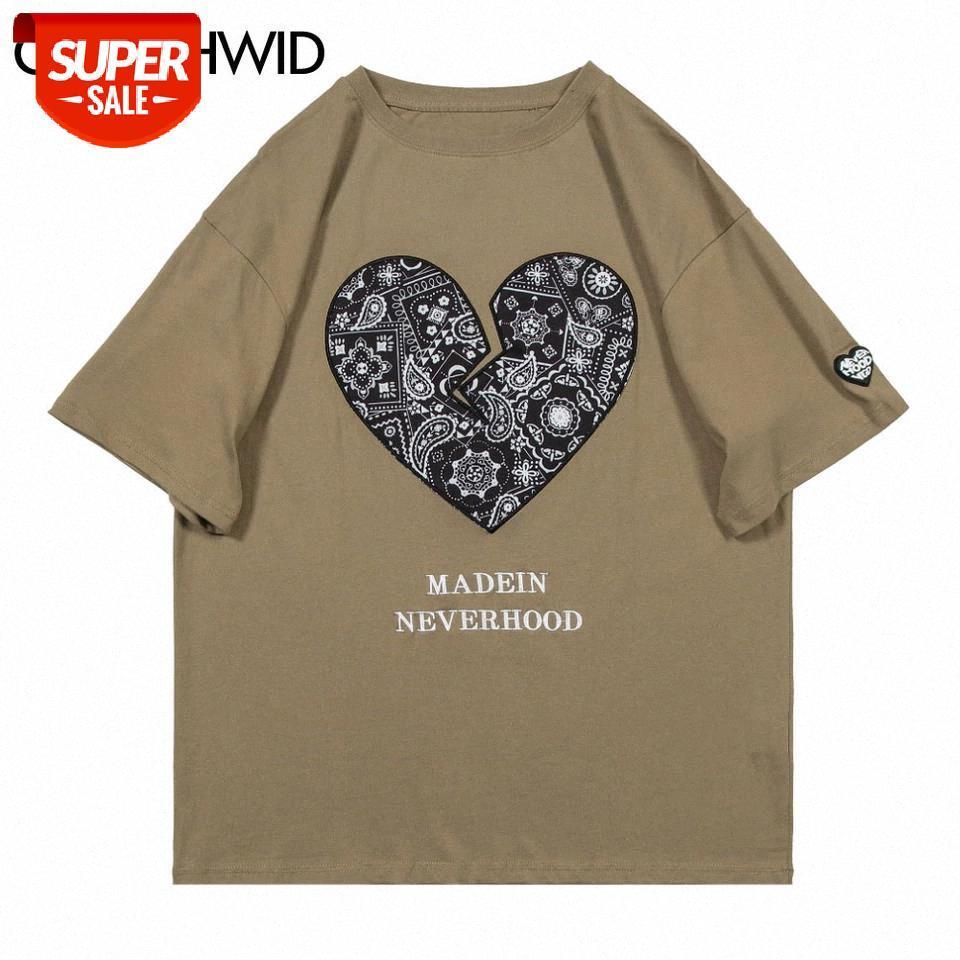 T-shirt Tees Gömlek Hip Hop Bandana Paisley Kalp Baskı Tişörtleri Streetwear Harajuku Rahat Pamuk Kısa Kollu T-Shirt Tops parti # 145o