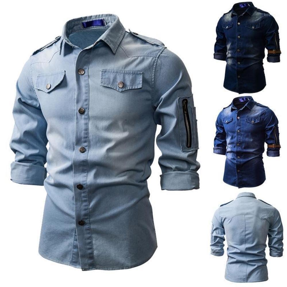 남자 데님 청바지 셔츠 가을 긴 소매 셔츠 캐주얼 슬림 레트로 데님 톱스 1