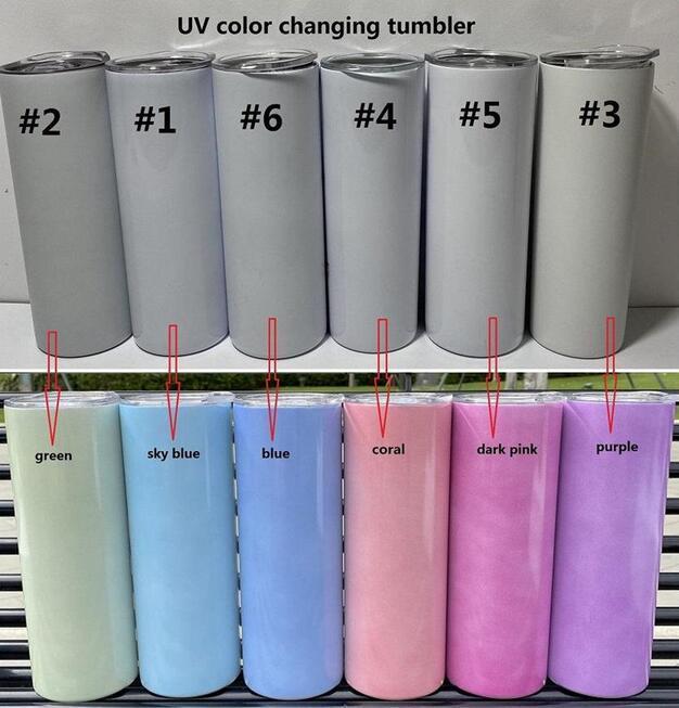 Azionamento degli Stati Uniti Colore UV Cambiare Tumbler 20oz Sublimazione Tumbler Sun Sensibile Acciaio inossidabile Acciaio inossidabile Tumbler Straight con coperchio e cannucce