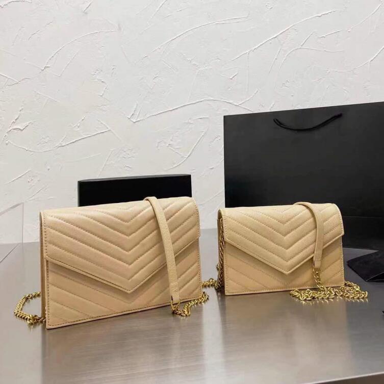 2021 Caviar couro designer bolsas de ombro cadeia envelope bolsas mulheres de alta qualidade crossbody bolsa grande bolsas com caixa