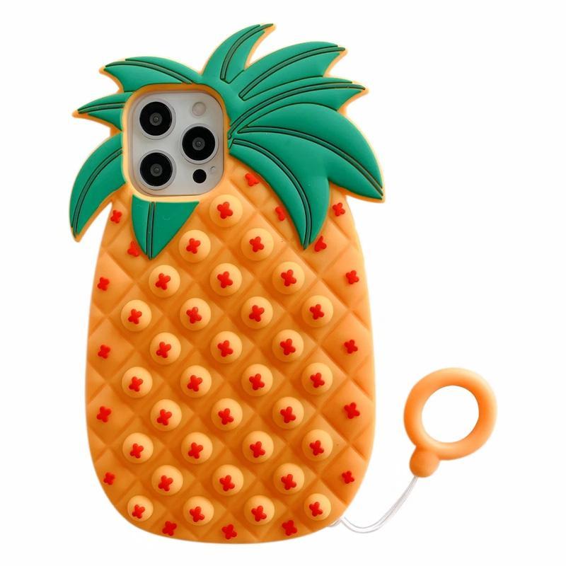 Pineapple Pop it fidget Case Unique 3D Decompression Phone Cases For Iphone 12 Mini Pro 11 XR XS MAX X 10 8 7 Plus Fruit Soft Silicone Fashion Back Mobile Cover With Strap