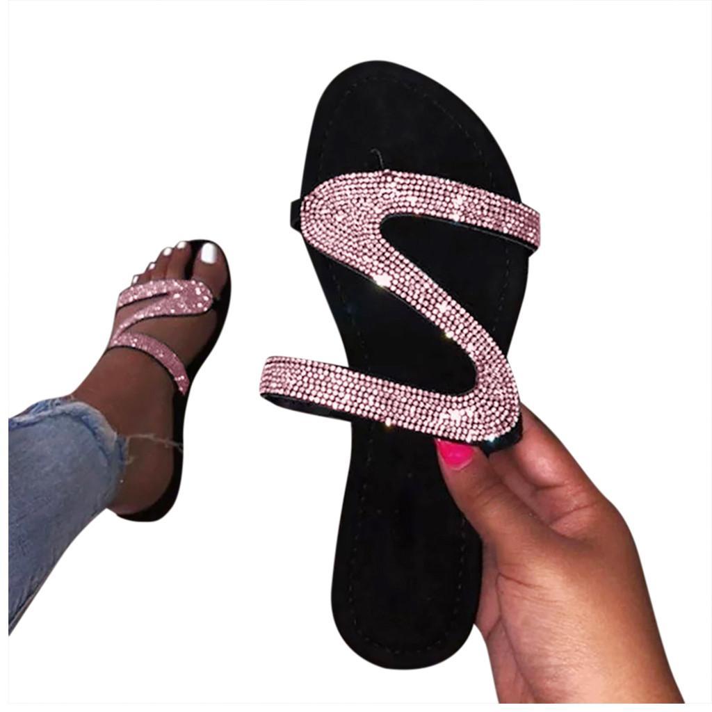 Kadın Glitter Kristal Terlik Artı Boyutlu Sızdırmaz Flats Kaymaz Kaymaz Roma Terlik Düz Açık Sandalet Ayakkabı Drop Shipping D0AFGIQAIJKCBXGVJKXBJKSA