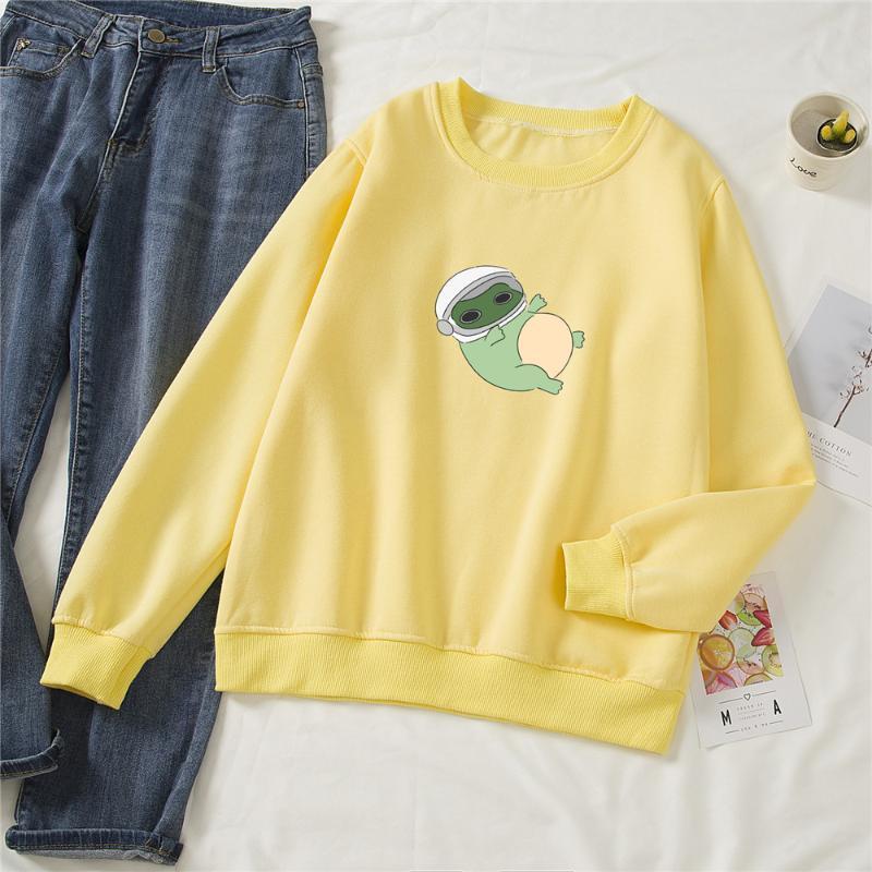 Hoodies das mulheres moletons de Algodão Suéter Sweatshirt Mulheres Harajuku Streetwear Top Dos Desenhos Animados Engraçado Rã Impresso Pullover Coreano Hoodie Swe