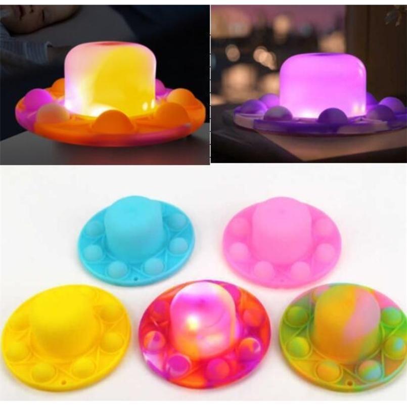 LED luz luminosa fidget push pops bolha chapéu chapéu chapéu chaveiro tie tintura push push pops bolhas puzzle crianças crianças lâmpada de desktop dedo brinquedo cedo brinquedo educativo l805n1
