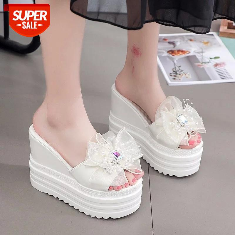 white black flower Rhinestone slippers women summer platform wedge sandals high heels beach slides #VO9w