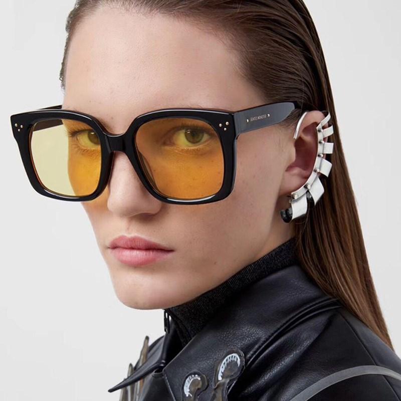 Homens clássicos Anti-reflexo Espelho Sunglasses Ocersized Square Óculos Moldura Moda Vintage Mulheres Sun Plástico UV400